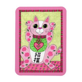 Japanese Pink Lucky Cat Maneki Neko Fridge Art Magnet