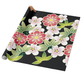 Japanese Pink & Yellow Fine Floral Kimono Pattern Wrapping Paper