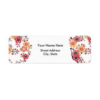 Japanese Plum blossoms Circle Label