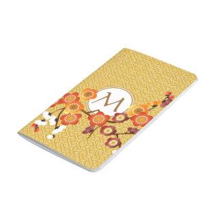 Japanese Plum Blossoms Gold Orange Red Geometric Journal
