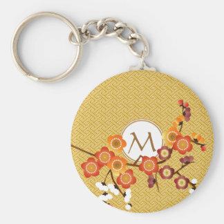 Japanese Plum Blossoms Gold Orange Red Geometric Key Chain