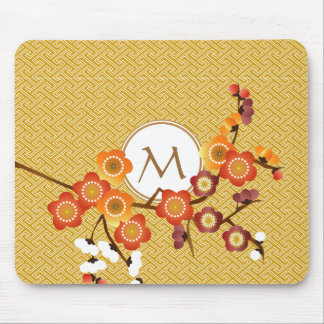 Japanese Plum Blossoms Gold Orange Red Geometric Mouse Pad
