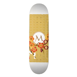 Japanese Plum Blossoms Gold Orange Red Geometric Skate Board Deck