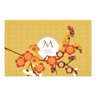 Japanese Plum Blossoms Gold Orange Red Geometric Stationery