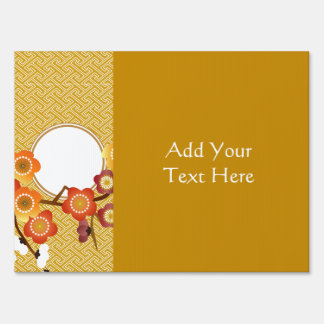 Japanese Plum Blossoms Gold Orange Red Geometric Sign