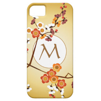 Japanese Plum Blossoms Moon Gold Orange Red Branch iPhone 5 Case