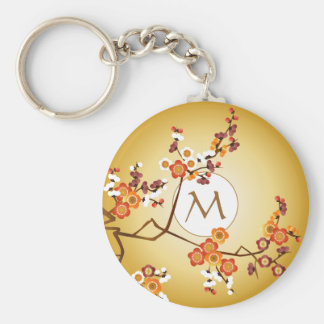 Japanese Plum Blossoms Moon Gold Orange Red Branch Key Chain