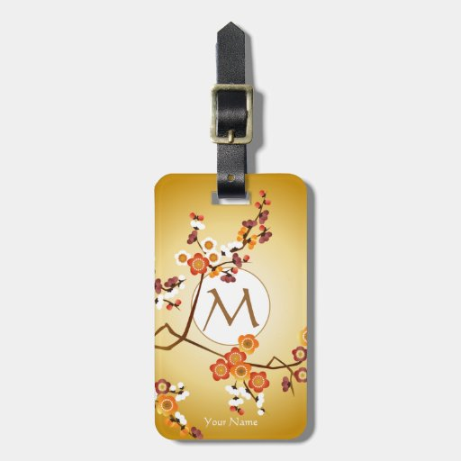 Japanese Plum Blossoms Moon Gold Orange Red Branch Bag Tags