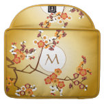 Japanese Plum Blossoms Moon Gold Orange Red Branch Sleeves For MacBook Pro