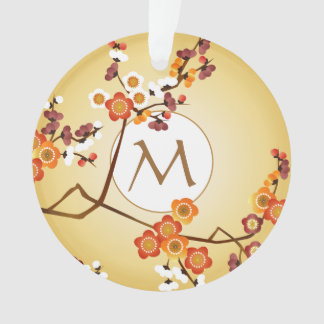 Japanese Plum Blossoms Moon Gold Orange Red Branch Ornament