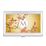 Japanese Plum Blossoms Moon Gold Orange Red Branch Business Card Holders