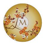 Japanese Plum Blossoms Moon Gold Orange Red Branch Poker Chip Set