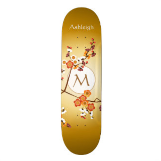 Japanese Plum Blossoms Moon Gold Orange Red Branch Skateboard