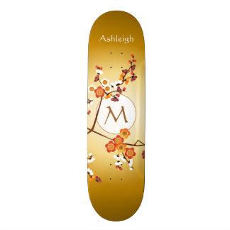 Japanese Plum Blossoms Moon Gold Orange Red Branch Skateboard