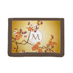Japanese Plum Blossoms Moon Gold Orange Red Branch Trifold Wallets