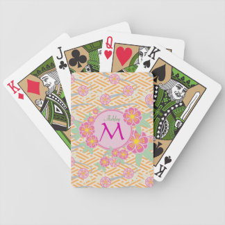 Japanese Plum Blossoms Ume Pink Orange Seigaiha Bicycle Playing Cards
