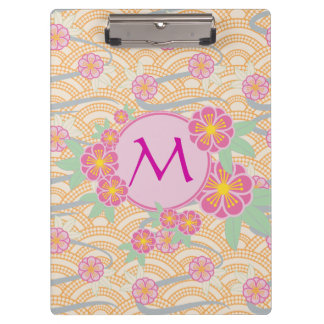 Japanese Plum Blossoms Ume Pink Orange Seigaiha Clipboard