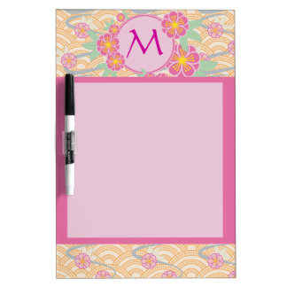 Japanese Plum Blossoms Ume Pink Orange Seigaiha Dry-Erase Board