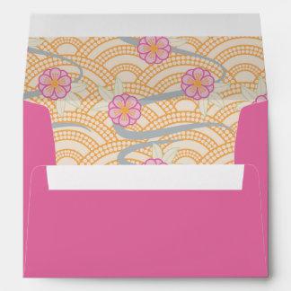 Japanese Plum Blossoms Ume Pink Orange Seigaiha Envelope