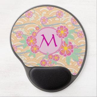 Japanese Plum Blossoms Ume Pink Orange Seigaiha Gel Mouse Pad