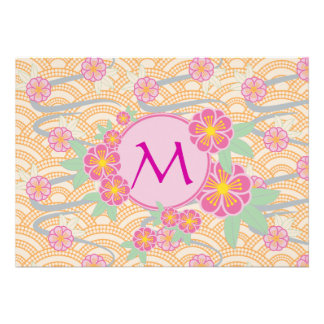 Japanese Plum Blossoms Ume Pink Orange Seigaiha Personalized Announcement