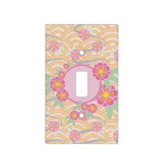 Japanese Plum Blossoms Ume Pink Orange Seigaiha Light Switch Cover