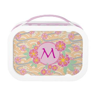 Japanese Plum Blossoms Ume Pink Orange Seigaiha Lunch Box