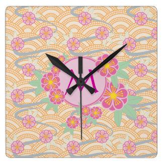Japanese Plum Blossoms Ume Pink Orange Seigaiha Square Wall Clock