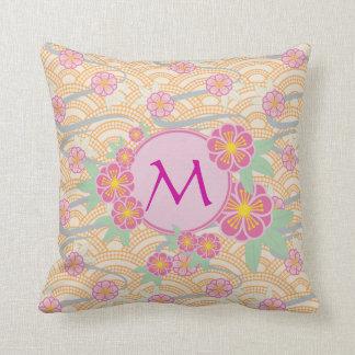 Japanese Plum Blossoms Ume Pink Orange Seigaiha Throw Pillow