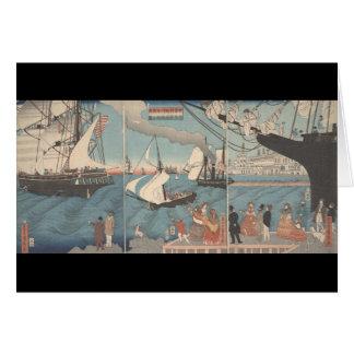 Japanese print - California port notecard