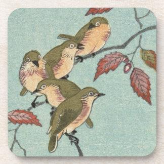 JAPANESE PRINT GREEN BIRDS Coasters