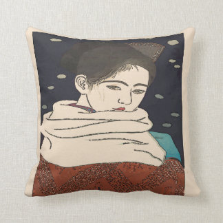 Japanese Print, Lady with Fan Throw Pillow