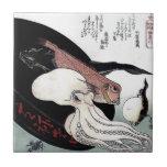 "Japanese Print Octopus Fish Woodblock Ceramic Tile<br><div class=""desc"">Japanese Print Octopus Fish Woodblock art.</div>"
