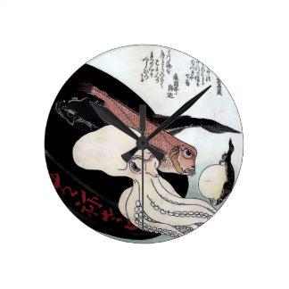 Japanese Print Octopus Fish Woodblock Clock