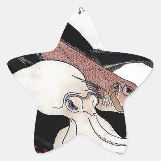 Japanese Print Octopus Fish Woodblock Star Sticker