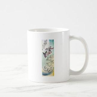 Japanese Print of Birds Flying Over Waves Coffee Mug