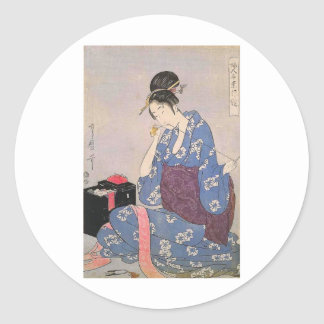 Japanese Print of Woman Sewing Classic Round Sticker