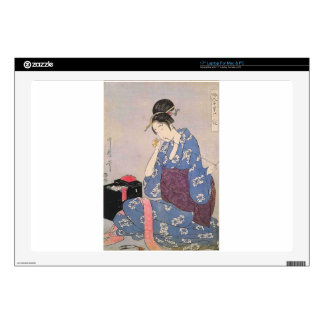 Japanese Print of Woman Sewing Laptop Decals