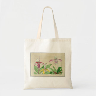 Japanese Print Orchid Flowers Tote Bag