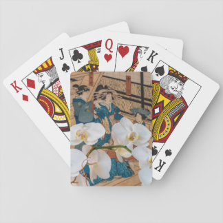 Japanese Print with Orchid Playing Cards