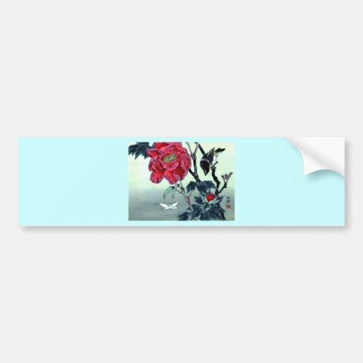 Japanese print with sparrow chrysanthemum moth car bumper sticker