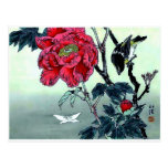 Japanese print with sparrow chrysanthemum moth postcard