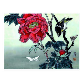 Japanese print with sparrow chrysanthemum moth postcard