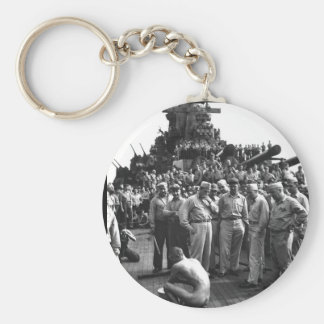 Japanese prisoners of war are bathed_War Image Keychain