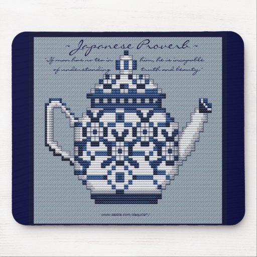 JAPANESE PROVERB TEA POT Cross Stitch Style Design Mousepads
