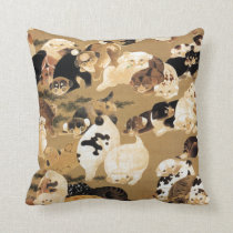 Japanese Puppies Throw Pillow