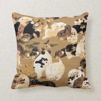Japanese Puppies Throw Pillow