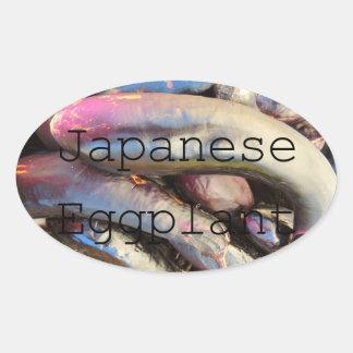 Japanese Purple Eggplant Jar Label Oval Stickers