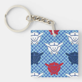 Japanese rabbit print, blue with red and white acrylic key chains