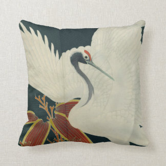 Japanese Red Crowned Crane Vintage Fine Art Throw Pillow